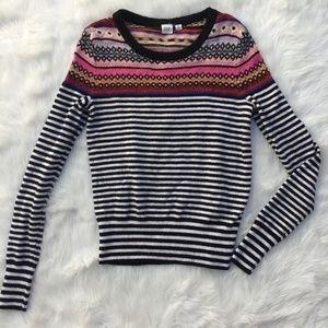 Gap striped and patterned sweater size xs